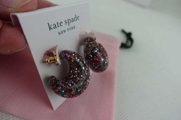 Aretes Kate Spade Glitter 41mm Hoop Earrings Colores
