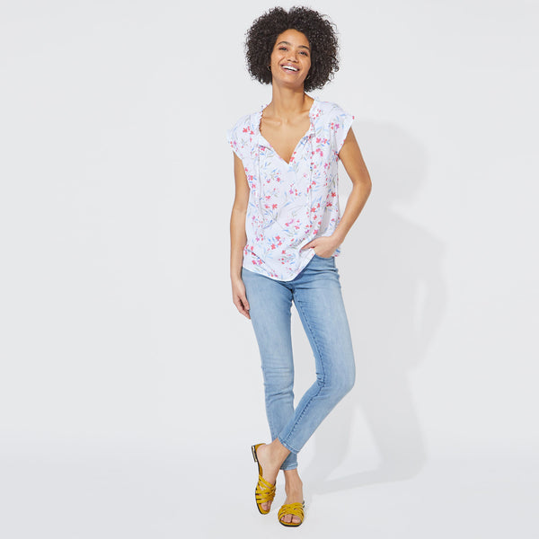 Blusa Nautica Dama Floral Split Neck Top - Bright White