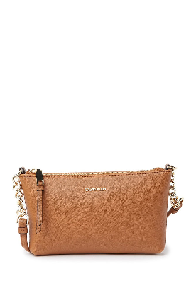 Bolsa Calvin Klein Hayden Saffiano Leather Cafe