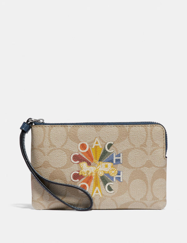Monedero Coach Corner Zip Wristlet In Signature Canvas With Coach Radial Rainbow