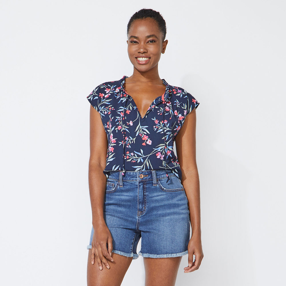 Blusa Nautica Dama Floral Split Neck Top - Stellar Blue Heather