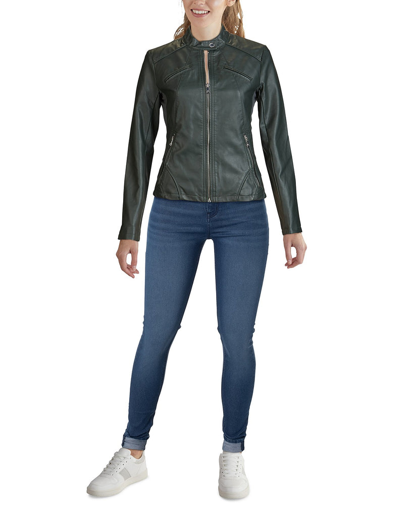 Chamarra GUESS Mujer Faux-Leather Moto Jacket