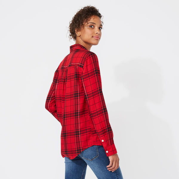 Blusa Nautica Mujer Long Sleeve Tiffany Plaid Boyfriend Shirt