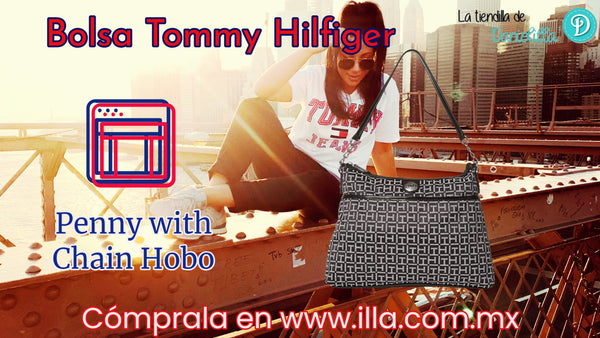 Bolsa Tommy Hilfiger Penny with Chain Hobo Negra