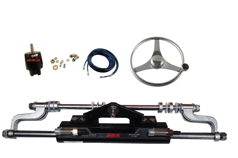 Tohatsu Outboard Stainless Steel wheel Quick Turning function Hydraulic Steering Boat steering Kit - Boat Steering Australia