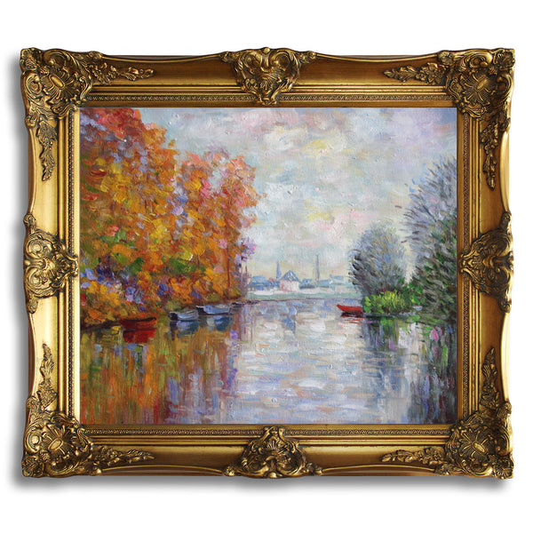 "MC12-Autumn on the Seine at Argenteuil-Claude Monet Repro Oil Painting on Canvas 20x24"" - USA Oil Painting- Art Supplies"