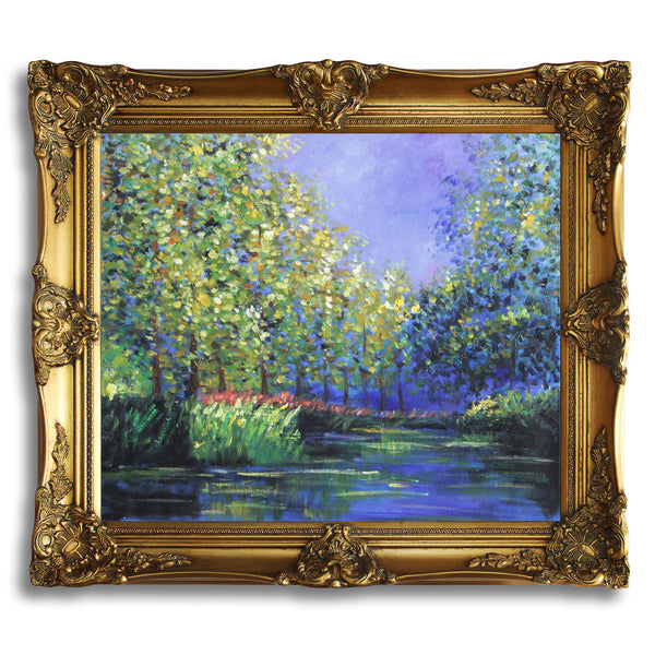 "MC028-Monet - Bend in the Epte River-Claude Monet Repro Oil Painting on Canvas 20x24"" - USA Oil Painting- Art Supplies"