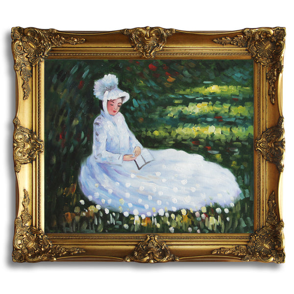"MC033-Camile Reading-Claude Monet Repro Oil Painting on Canvas 20x24"" - USA Oil Painting- Art Supplies"