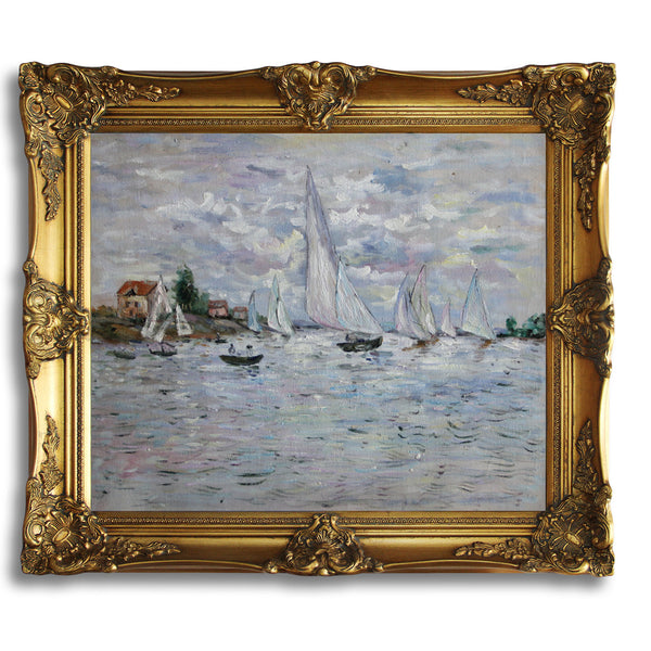 "MC056-Regates at Argenteuil-Claude Monet Repro Oil Painting on Canvas 20x24"" - USA Oil Painting- Art Supplies"