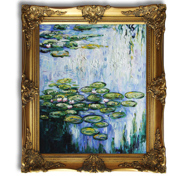 "MC078-Water Lilies (vertical)-Claude Monet Repro Oil Painting on Canvas 20x24"" - USA Oil Painting- Art Supplies"