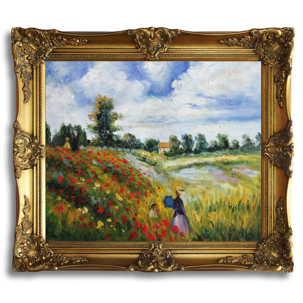 "MC095-Poppy Field in Argenteuil-Claude Monet Repro Oil Painting on Canvas 20x24"" - USA Oil Painting- Art Supplies"