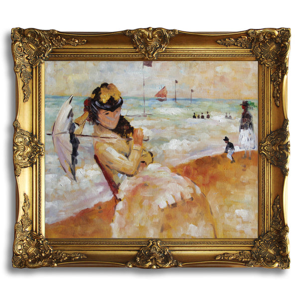 "MC118-Camille on the Beach at Trouville-Claude Monet Repro Oil Painting on Canvas 20x24"" - USA Oil Painting- Art Supplies"