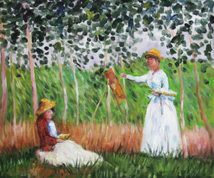 MC121-Suzanne Reading and Blanche Painting by the Marsh at Giverny