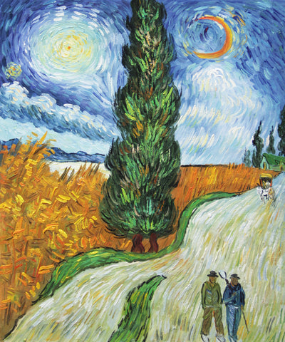Road with Cypresses-Vincent van Gogh Repro Oil Painting on Canvas 20x24""