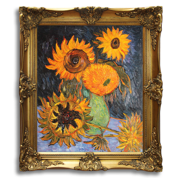 "VG19-Still Life Vase with Five Sunflowers-Vincent van Gogh Repro Oil Painting on Canvas 20x24"" - USA Oil Painting- Art Supplies"