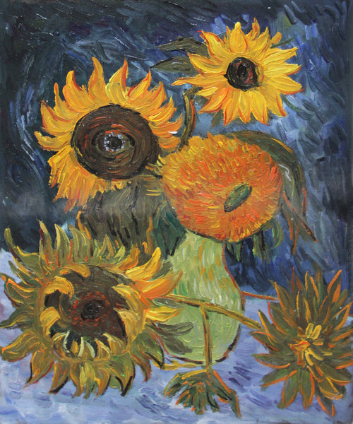 VG19-Still Life Vase with Five Sunflowers