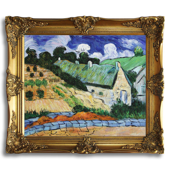 "VG47-Houses with Thatched Roofs, Cordeville-Vincent van Gogh Repro Oil Painting on Canvas 20x24"" - USA Oil Painting- Art Supplies"