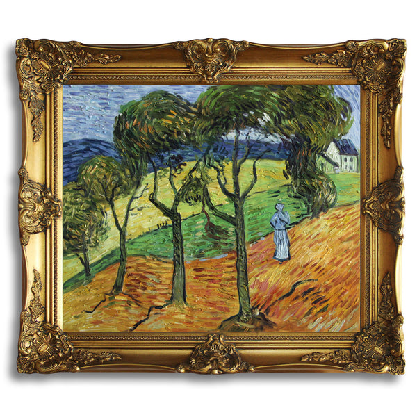 "VG49-Landscape with Trees and Figures-Vincent van Gogh Repro Oil Painting on Canvas 20x24"" - USA Oil Painting- Art Supplies"