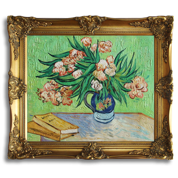 "VG55-Oleanders and Books-Vincent van Gogh Repro Oil Painting on Canvas 20x24"" - USA Oil Painting- Art Supplies"