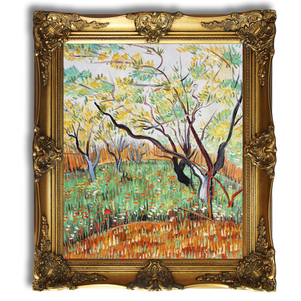 "VG60-Orchard in Blossom-Vincent van Gogh Repro Oil Painting on Canvas 20x24"" - USA Oil Painting- Art Supplies"