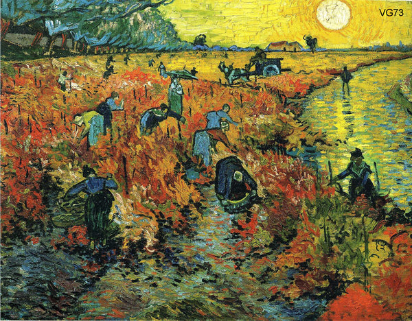 "VG73-Red Vineyards at Arles-Vincent van Gogh Repro Oil Painting on Canvas 20x24"" - USA Oil Painting- Art Supplies"