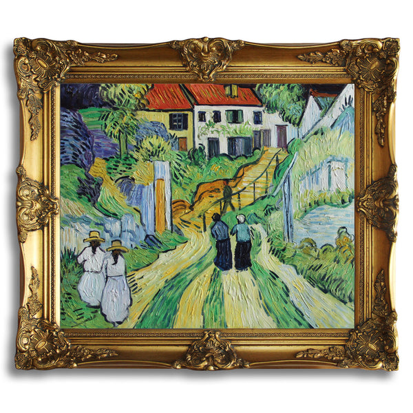 "VG82-Village Street and Steps in Auvers with Figures-Vincent van Gogh Repro Oil Painting 20x24"" - USA Oil Painting- Art Supplies"