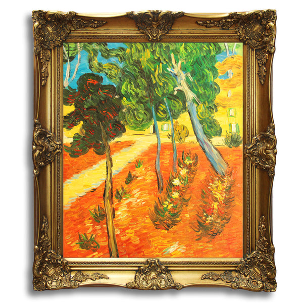 "VG94-Trees in the Asylum Garden-Vincent van Gogh Repro Oil Painting on Canvas 20x24"" - USA Oil Painting- Art Supplies"