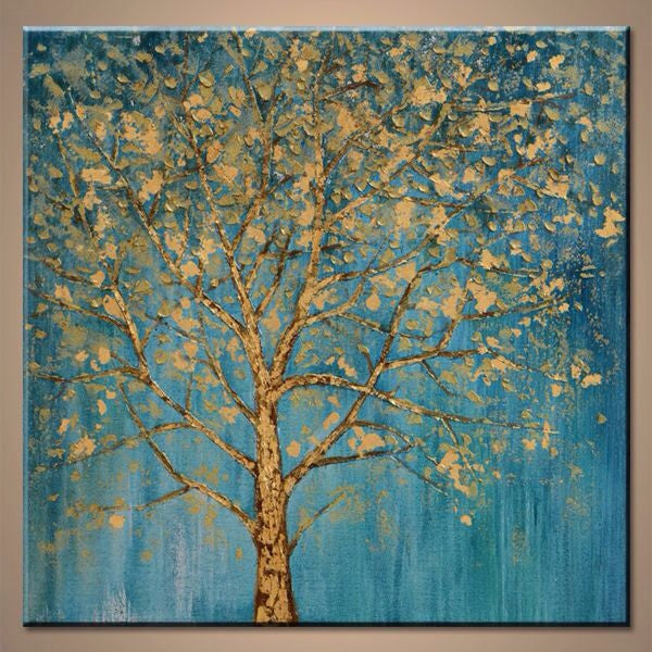 Big Tree Blue Tone  Oil painting Stretched Canvas Wall Art Decorative Ready to Hang MDyf-291 - USA Oil Painting- Art Supplies