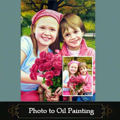 Photo to painting, One or two people - USA Oil Painting- Art Supplies