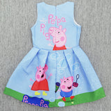 2017 New Peppa Pig Little Girls' Sleeveless Hot Summer Cartoon Printed Dresses-Hot Sale Products free ship to worldwide