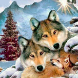 "5D DIY Diamond Painting Full Square Diamond Drill ""Happy wolf"" 3D Embroidery set Cross Stitch Home Wall Art Decor gift Mosaic Crafts kit set-Hot Sale Products free ship to worldwide"