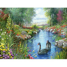 "5D DIY Diamond Painting Full Square Drill ""Spring Swan Lake"" 3D Embroidery set Cross Stitch Home Wall Art Decor gift Mosaic Crafts kit set"