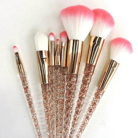 Aquarium Crystal 8PCS Unicorn Brush Makeup Brush Set Nylon Hair Eyebrow Eyeshadow Powder Brush Rose Golden Portable Brushes Gift for women-Hot Sale Products free ship to worldwide