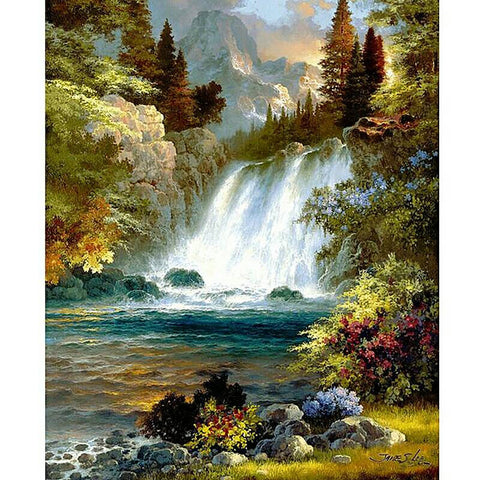 "5D DIY Diamond Painting Full Square Drill ""Forest Waterfall"" 3D Embroidery set Cross Stitch Home Wall Art Decor gift Mosaic Crafts kit set-Hot Sale Products free ship to worldwide"