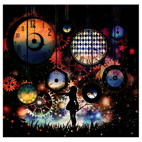 "5D DIY Diamond Painting Full Square Drill ""Clock & Girl"" 3D Embroidery set Cross Stitch Home Wall Art Decor gift Mosaic Craft kit-Hot Sale Products free ship to worldwide"