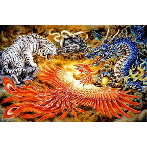 "5D DIY Diamond Painting Full Square Drill ""Dragon Phoenix Tiger Snake"" 3D Embroidery set Cross Stitch Home Wall Art Decor gift Mosaic Craft"