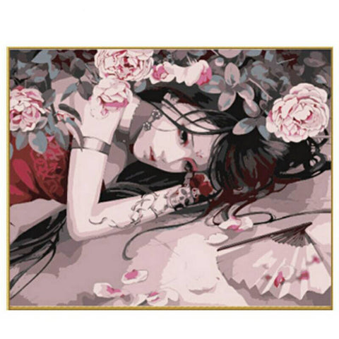 Paint By Number Asian Women DIY Painting By Numbers Kits Coloring Paint By Numbers Modern Wall Art Picture Gift-Hot Sale Products free ship to worldwide