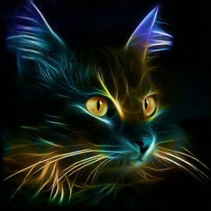 "5D DIY Diamond Painting Full Square Drill ""Light Black Cat"" 3D Embroidery set Cross Stitch Home Wall Art Decor gift Mosaic Craft kit"