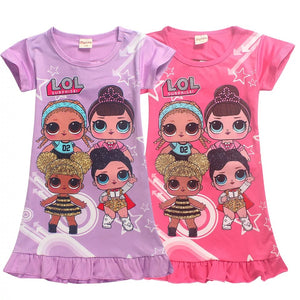2019 LOL Little Girls' Short Sleeved Hot Summer Cartoon Printed Dresses