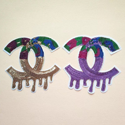 5pcs Double letter C logo iron on patches, Sequin embroidered patches, denim patches, iron on/sewing-Hot Sale Products free ship to worldwide