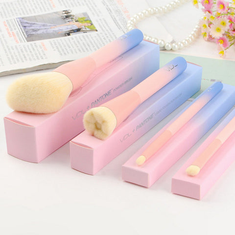 2017 Gradient Color Pink Powder Makeup Brushes VDL pantone 4pcs Set Make up Brush with Box-Hot Sale Products free ship to worldwide