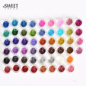 60pcs Color Nail Glitter Powder Dust 3D Nail Art Decoration Acrylic UV Gel Polish Nail Art Tools Set