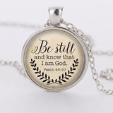 Hot sale 2017 Bible Verse Necklace, Be Still and Know That I am God Pendant, Psalm 46:10 Quote Jewelry, Your Choice of Finish-Hot Sale Products free ship to worldwide