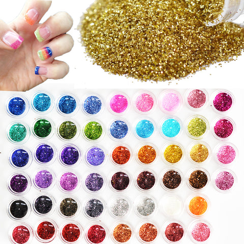 60pcs Color Nail Glitter Powder Dust 3D Nail Art Decoration Acrylic UV Gel Polish Nail Art Tools Set-Hot Sale Products free ship to worldwide