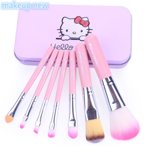 2017 New Hello Kitty 7 Pcs Makeup brush Set cosmetics make up brush Kit with pink color Metal box-Hot Sale Products free ship to worldwide