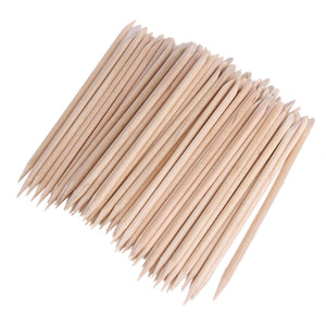 1 Pack 80-100pcs Nail Art Orange Wood Stick Cuticle Pusher Remover Manicure Pedicure Care Pusher Beauty Nails Tools