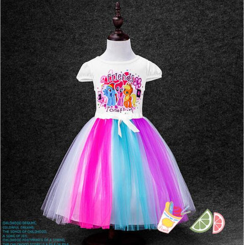2-8 Yrs Big Kids Baby Girls Dress My Little Pony Summer Girl Rainbow Dresses girls princess For Children Costume Vestidos-Hot Sale Products free ship to worldwide