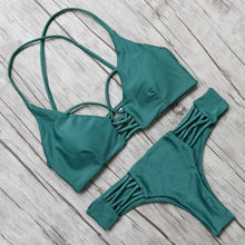 2017 Hot Swimwear Women Bikini Set Cross Bandage Beach Bathing Suit Top Low Waist Swimsuit Push Up