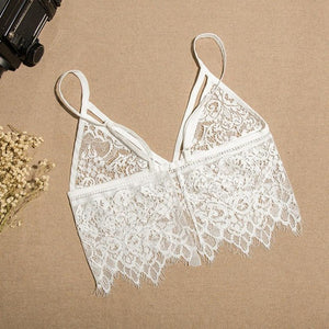 Women Crop Tops Hollow Out Camis Translucent Underwear Sheer Lace Frenum Strap Lingerie Bra Tops