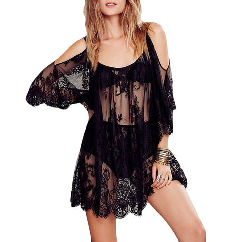Women Beach Dress Sexy Strap Sheer Floral Lace Embroidered Crochet Summer Dresses Boho Dress-Hot Sale Products free ship to worldwide